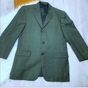 Burberry Men's Designer Green Plaid Blazer Jacket